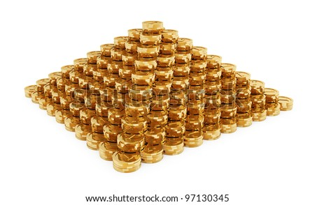 Illustration of pyramid from the golden coins isolated on white background - stock photo