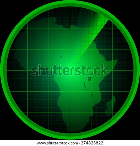 Illustration of radar screen with a silhouette of Africa - stock photo