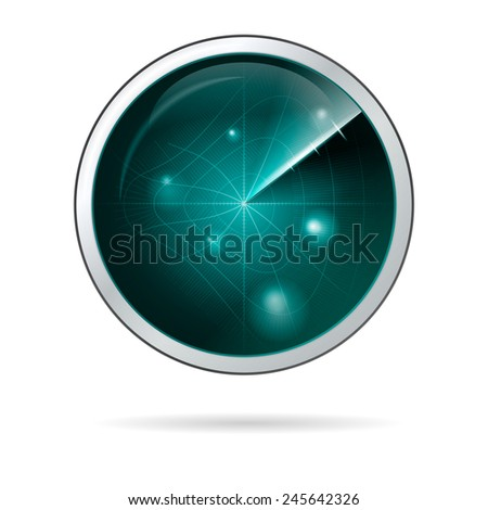 Illustration of radar screen with curved grid. Round blue radar screen with curved grid in some anomalous zone. Abstract isolated illustration on white background. - stock photo