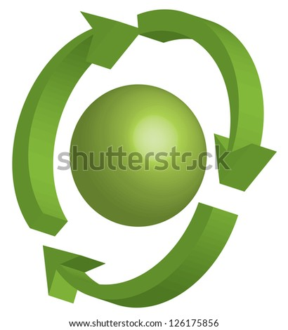 illustration of recycling symbol - stock photo
