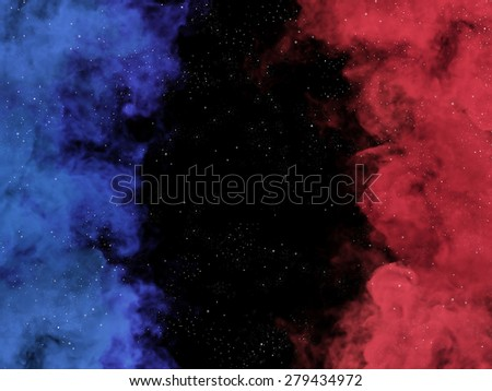 Illustration of red and blue nebulas and stars in cosmos - stock photo