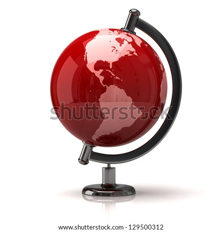 Illustration of red earth globe - stock photo