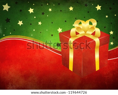Illustration of red gift box with golden bow on grunge background.