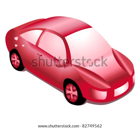 illustration of red glossy girl automobile