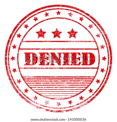 Illustration of red grunge rubber stamp with the word denied - stock photo