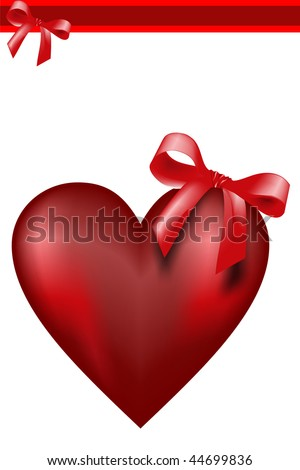 Illustration of red heart, ideal for valentines card or related themes. - stock photo