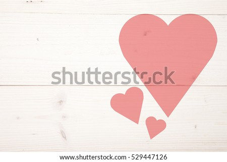 Illustration of red heart on wooden background