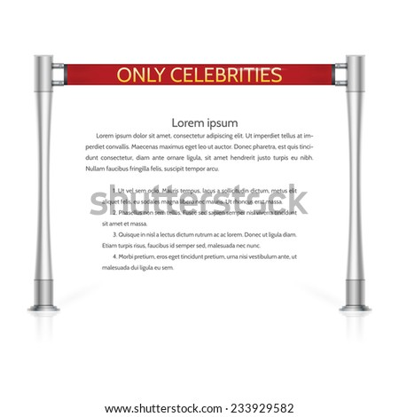 Illustration of red rope barrier. Red ribbon rope barrier with silver racks and golden words Only Celebrities. Isolated illustration on white background with sample text. - stock photo