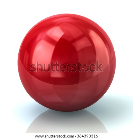 Illustration of red spher isolated on white background - stock photo
