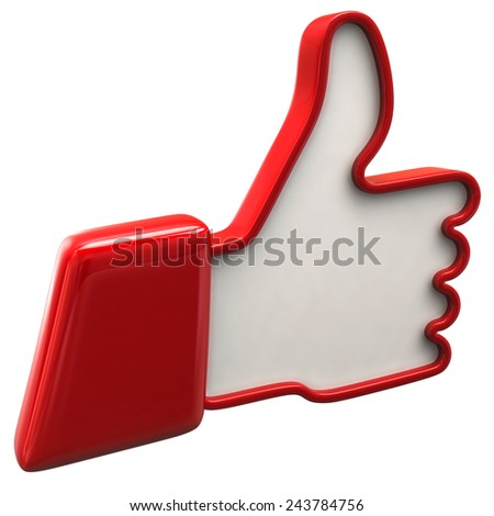 Illustration of red thumbs up icon - stock photo