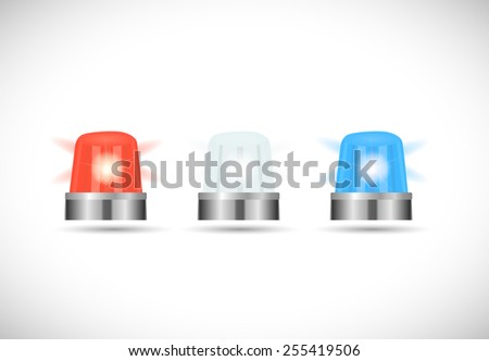 Illustration of red,white and blue first responder lights isolated on a white background. - stock photo