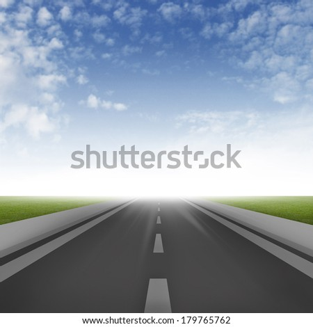 Illustration of road ahead with sky background - stock photo