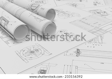 Illustration of roll and flat technical drawing - stock photo