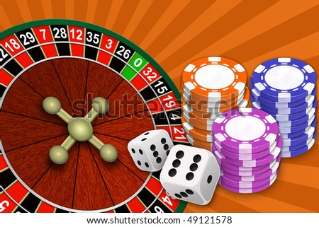 Illustration of roulette of chip and blocks for a game on an abstract background - stock photo