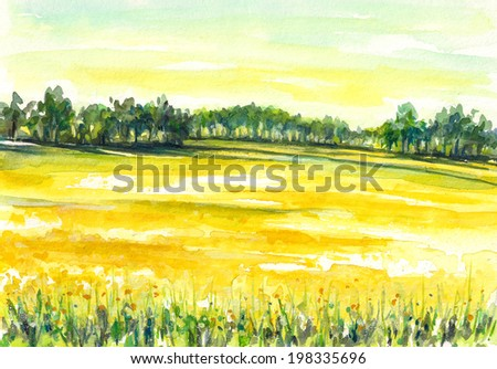 Illustration of rural landscape with rape field.Picture created with watercolors. - stock photo