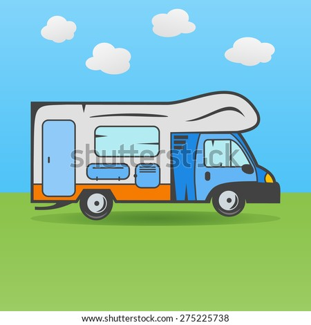 Illustration Rv Camping Truck On Meadow Stock 275225738