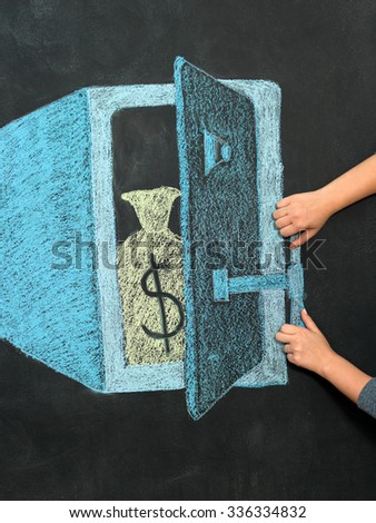 illustration of safe with money on chalkboard - stock photo