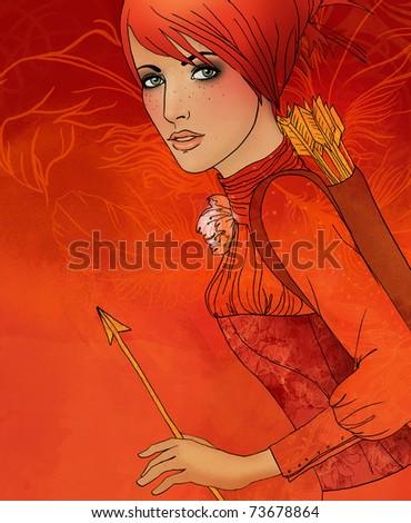 Illustration of sagittarius astrological sign as a beautiful girl - stock photo
