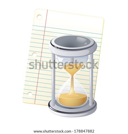 Illustration of sand glass and piece of paper