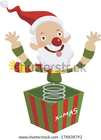 Illustration of Santa Claus jumping out from gift box