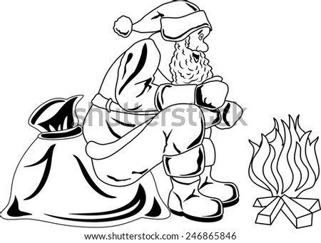Illustration of Santa Claus sitting by the fire - stock photo