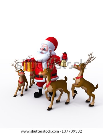 illustration of santa claus with reindeer