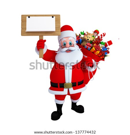 illustration of santa claus with sign and gifts