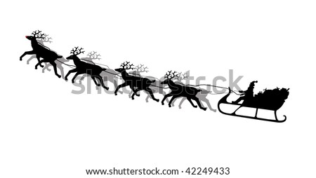 Illustration of Santa's sleigh with reindeer in silhouette isolated on white background - stock photo