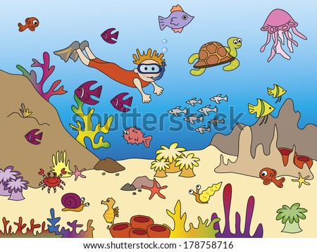 illustration of sea life with fish and diver
