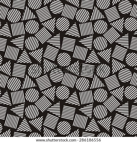 Illustration of seamless black-and-white abstract pattern with geometric figures. Raster version - stock photo