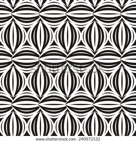 Illustration of seamless decorative black-and-white pattern. Raster version
