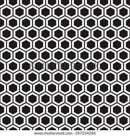 Illustration of seamless geometric pattern with honeycombs. Raster version