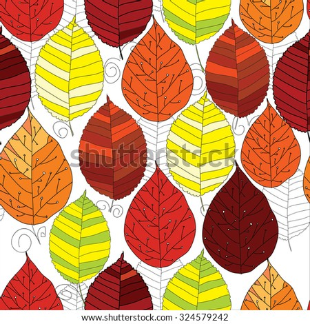 illustration of seamless pattern autumn  leaf with graphic on white background.