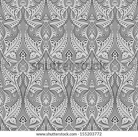Illustration of seamlessly tiling repeat art nouveau background pattern - stock photo