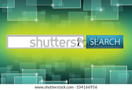 Illustration of Search Engine Bar and Finder Lens on Yellow Green Background. Glowing Technology Squares on Upper and Lower Sides. - stock photo