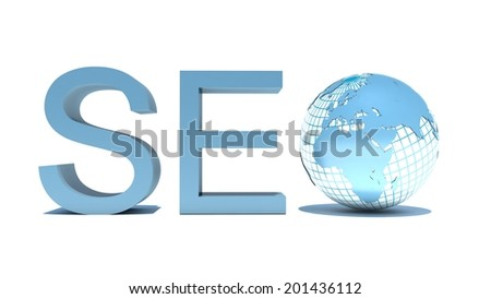 illustration of seo text with earth globe, search engine optimization concept - stock photo