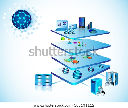 Illustration of Service Oriented Architecture with different layer components like Presentation, business process, Service component, message layer and legacy, enterprise application layer  - stock photo