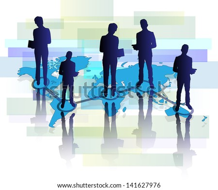 Illustration of several business men and women with tablet on world map - stock photo