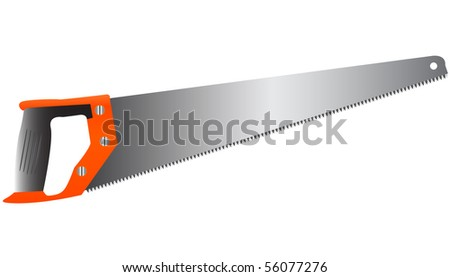 Illustration of sharp worker saw isolated over white