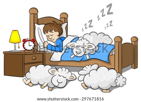 illustration of sheep fall asleep on the bed of a sleeping man - stock photo