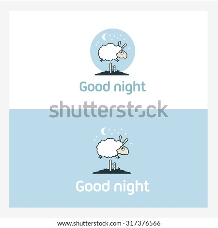 Illustration of Sheep jumping over the fence. Logo elements concept. - stock photo