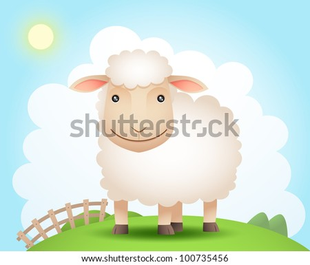 Illustration of sheep on the hill - stock photo