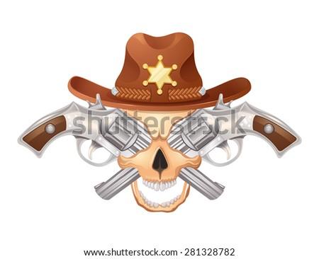 Illustration of Sheriff's skull with guns. Colored on white backround. - stock photo