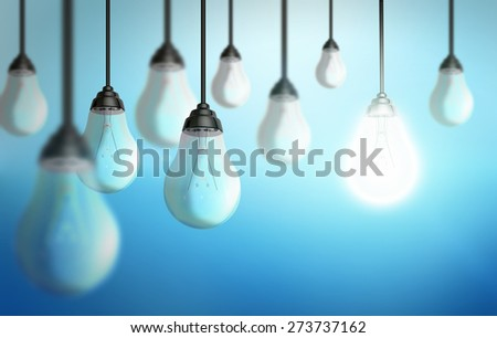 Illustration of shiny lightbulbs on colorful background