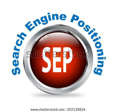 Illustration of shiny round glossy button of search engine positioning - sep - stock photo