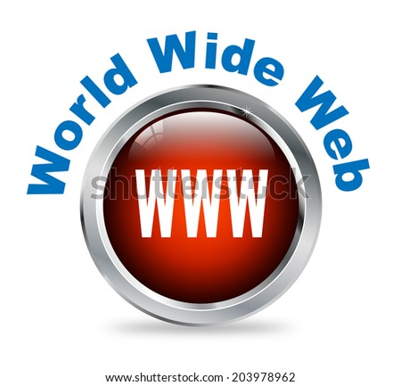 Illustration of shiny round glossy button of  World Wide Web - www - stock photo