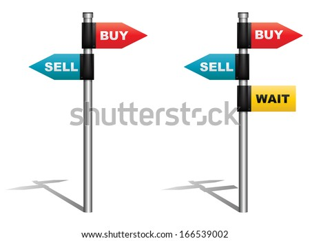 Illustration of signboard showing buy sell and wait as directions. - stock photo
