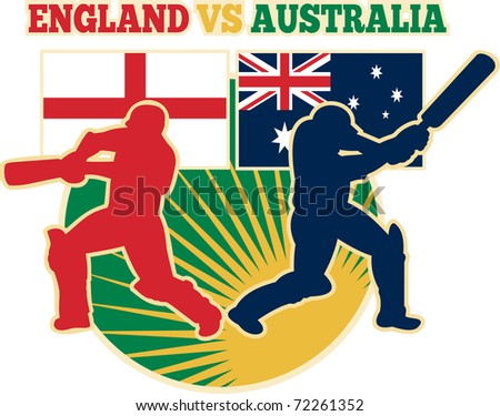 illustration of  silhouette of cricket batsman batting front view with flag of England and Australia in background