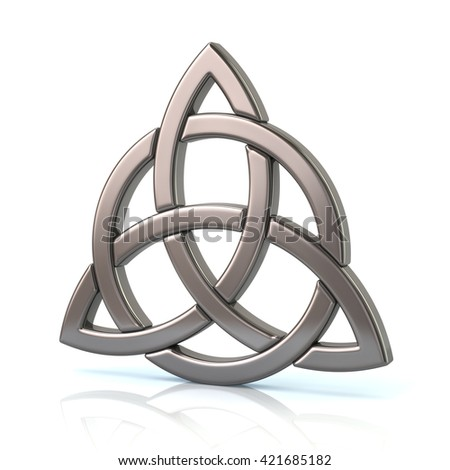 Illustration of silver celtic trinity knot isolated on white background - stock photo