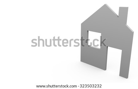 Illustration of simple grey house. Real estate concepts